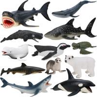 儿童海洋玩具模型 男孩仿真动物套装大鲨鱼虎鲸灰鲸抹香鲸大白鲨