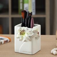 欧式创意时尚可爱婚庆礼品桌面摆件树脂多功能田园装饰笔筒桶笔架