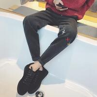 文艺男女店冬季男士休闲裤韩版潮加厚裤子修身小脚裤运动裤男裤