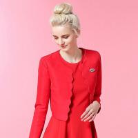 咏仕女装工装短款外套女时尚职业上衣红色休闲女士春装长袖外套潮 大红