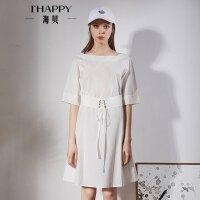 海贝2018春季新款女装纯棉白色一字领中袖松紧绑带收腰甜美连衣裙