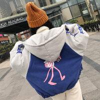 宽大外套女冬短款bf原宿风萌系卡通粉红顽皮豹印花棒球服棉衣