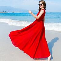 维绯 宽松大码沙滩裙大红色雪纺连衣裙拖地大摆海边度假V领长裙子 红色
