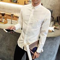 春季新款纯色长袖衬衫韩版青少年百搭尖领长袖衬衣男学生修身衬衣