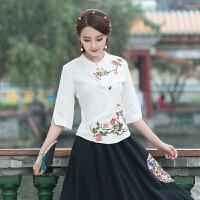 中国风立领女上衣2018新款夏装民族风刺绣花棉麻衬衫七分袖衬衫