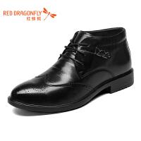 红蜻蜓英伦雕花男士正装商务高帮皮鞋真皮马丁靴雕花系带短靴秋冬靴子