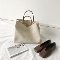 2018韩版新款复古简约手提布包购物袋大容量包包单肩包女学生包袋