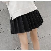 慈姑毛呢百褶裙女高腰A字弹力短裙学生外穿打底裙秋冬韩版黑色半身裙