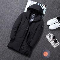 男羽绒服韩版青年2019冬季新款中长款连帽纯色外套保暖上衣棉服。