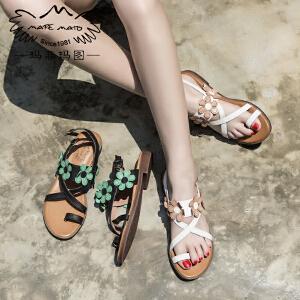 玛菲玛图 女士凉鞋新款女夏学生平跟甜美气质优雅复古皮带扣花朵凉拖鞋2611-3D