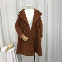 】L@ 3.3斤秋冬新韩版纯色双排扣长袖中长毛呢大衣