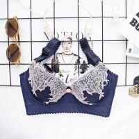 2018新款 调整型文胸薄款性感光面蕾丝无海绵内衣收副乳胸罩女夏季 深蓝色