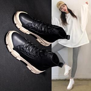 小短靴女高帮休闲鞋女新款马丁靴女英伦风学生韩版百搭平底chic网红鞋子2341DTH