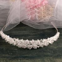 水晶手工串珠子发饰发箍头饰 新娘结婚饰品婚纱礼服配饰y 白色