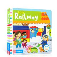 【全店300减110】英文原版进口绘本 Busy Railway儿童玩具机关启蒙书图画 纸板书