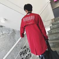 新款秋冬季男士韩版修身长袖中长款夹克外套男装个性字母印花风衣