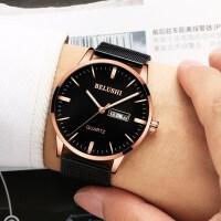 手表男士运动石英表时尚潮流夜光皮带男表手韩版简约腕表