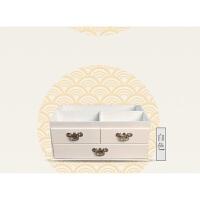 大号复古桌面木质化妆品收纳盒木制家用梳妆台护肤盒抽屉式带镜子 白色 大号现货