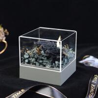 永生玫瑰花音乐盒黑色永生花礼盒玻璃罩摆件音乐盒八音盒黑玫瑰花礼盒情人节礼物干