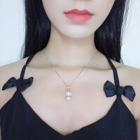 天使珍珠吊坠s925纯银项链水晶小天使皇冠女生闺蜜女友生日礼物夏