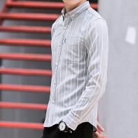 2017秋季新款男士长袖衬衫韩版休闲男装条纹印花衬衣修身寸衫