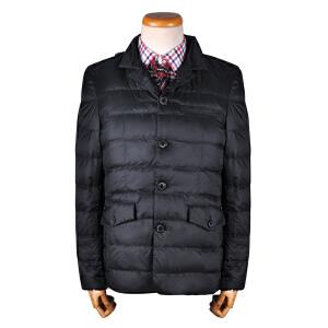 youngor/雅戈尔  男士休闲都市立领针织领修身中长款羽绒服外套