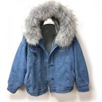 牛仔外套女冬厚加绒大毛领短款韩版泡泡袖宽松棉衣冬季外套女