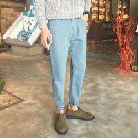 弹力牛仔裤冬装新款简约男士青年韩版修身直筒小脚裤子纯色潮