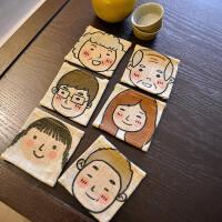 创意杯垫方形布艺餐垫全家福结婚礼物节日京剧中式复古