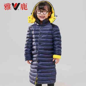 【一件三折 到手价:197.7】yaloo/雅鹿2017新款女童甜美韩版外套中大童可爱中长款羽绒服冬