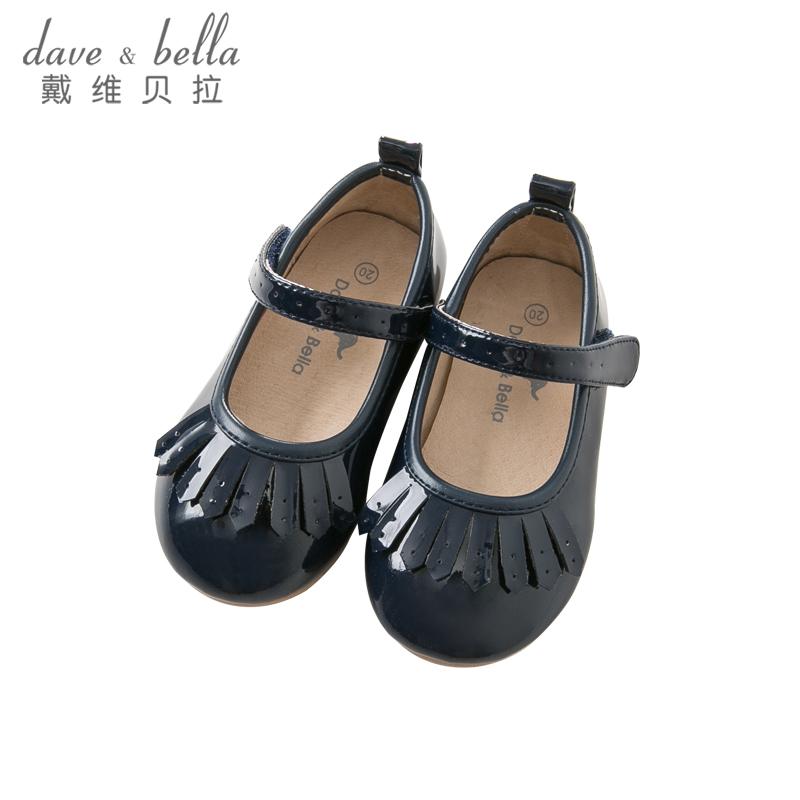 戴维贝拉秋冬季女童皮鞋子 女宝宝公主鞋DB8791 镜面超纤面料 工艺求精 魔术贴设计