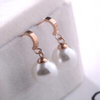 气质短款珍珠吊坠钛钢耳钉简约学生小耳环精致女士耳饰 一对价(钛钢)