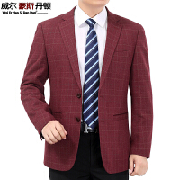 中年男士休闲西装外套爸爸男装小西服中老年宽松红格子单西装上衣