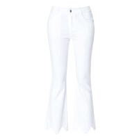女裤2018春夏新款白色牛仔微喇裤女九分时尚修身显瘦毛边