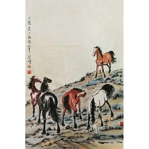徐悲鸿《骏马五匹》著名画家