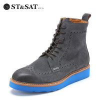 ST&SAT 二层磨砂牛皮圆头型格男高帮短靴SS44129163