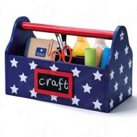 儿童创意桌面收纳盒首饰整理盒杂物箱学生卡通储物箱文具收纳盒 深蓝色 蓝星手提-售完