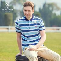 短袖polo衫男士棉氨条纹美式休闲翻领男士短袖T恤衫