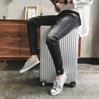 秋季潮流男装牛仔裤 男士牛仔裤韩版修身破洞弹力小脚裤长裤