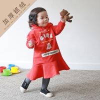 2019 韩版公主A字卫衣连衣裙秋冬字母童装裙中小童连衣裙 红色