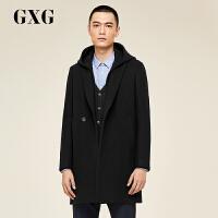 GXG大衣男装 冬季男士青年韩版时尚休闲连帽黑色长款大衣男