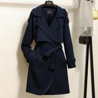 风衣女中长款韩版秋季女装2018新款英伦修身外套女装显瘦过膝大衣