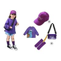 紫色女童卫衣2018新款韩版潮洋气女宝宝春秋装中长款休闲长袖卫衣 组合