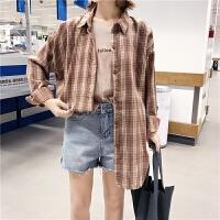 春季新款韩版格子衬衫女宽松长袖学生复古中长款防晒衣外套潮
