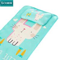 夏季天bb幼儿园透气可机洗折叠婴儿床软凉席垫子冰丝儿童宝宝