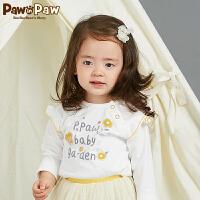 【3件4折 到手价:119】Pawinpaw卡通小熊童装秋女宝宝拼接袖小熊印花长袖T恤