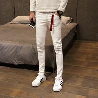 18春夏新款男士韩版修身小脚长裤子潮流青年弹力水洗白色牛仔裤
