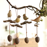 美式乡村创意家居复古小鸟树脂挂件饰品客厅风铃挂饰卧室吊件4件