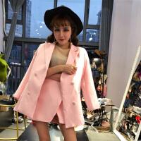 夏装新款名媛小香风洋气西装外套+高腰不规则短裙时髦套装