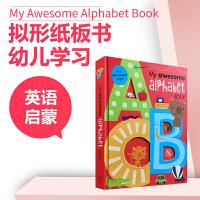 【全店300减100】字母大卡书英文原版童书My Awesome Alphabet Book儿童启蒙26个字母单词纸板书